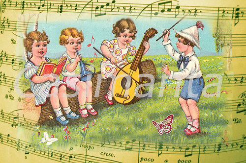 Malí hudebníci - vintage motiv
