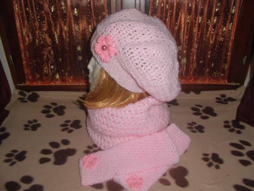 Háčkovaný baret růžový L