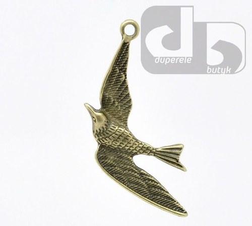 Bronzový přívěšek - pták 35 x 20 mm 1 ks