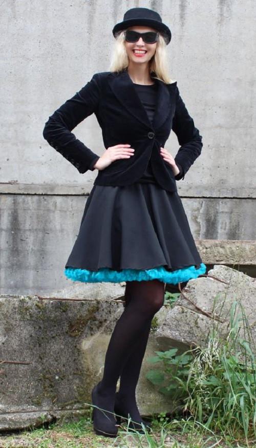 FuFu sukně černá s tyrkysovou spodničkou