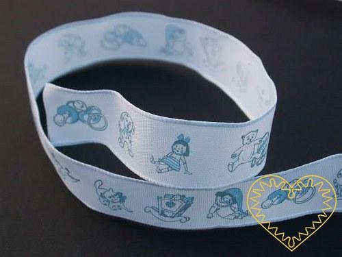 Modrá textilní stuha pro miminka - chlapečky