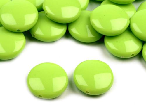 Plastové korálky 16mm placka / zelené (10 ks)