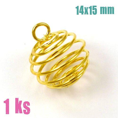 Zlatá klec na korálek s očkem 14x15 mm 1 ks