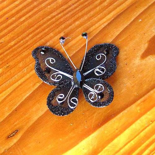 Organzový Motýlek - Černý