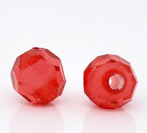 akrylové korálky kulaté 6mm/ červená č. 9 /30ks