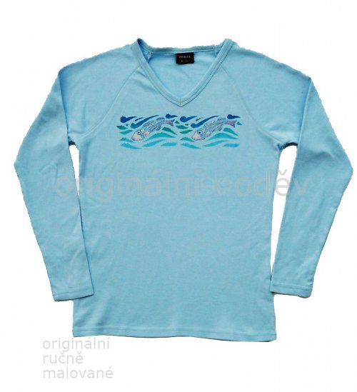 SLEVA: Malované tričko dámské - rybky - modré