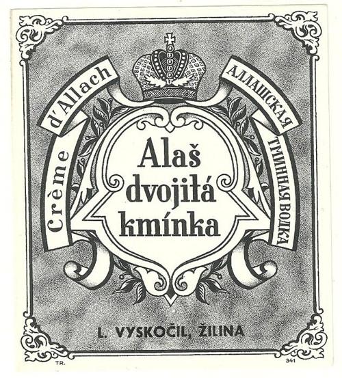 Etiketa Alaš dvojitá kmínka Žilina