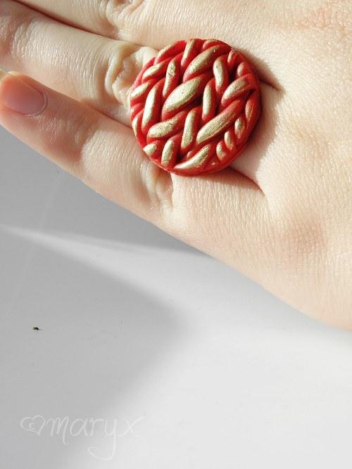 Pletený prsten ČERVENÝ