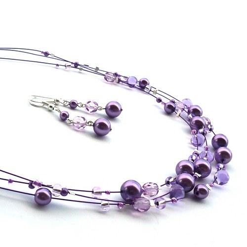 Světle fialový náhrdelník s náušnicemi