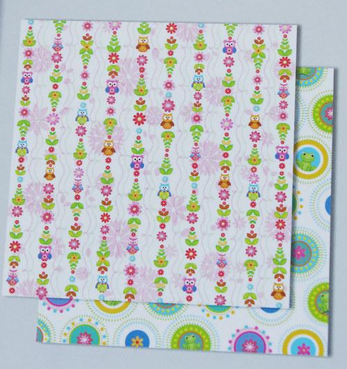 Glitrový scrapbook papír - Sovičky 125