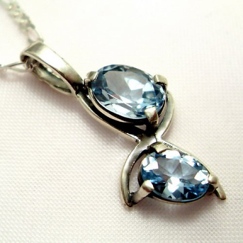 Přívěsek «Angie» - stříbro 925, modrý topaz