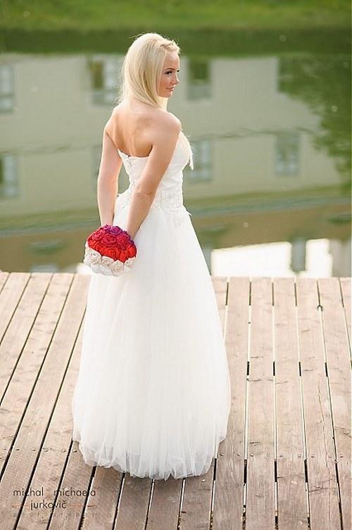 Svatební látková kytice Mat a elegance + korsáž