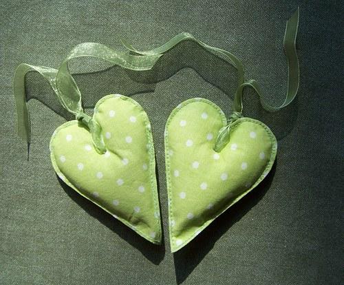 Srdíčko 10cm s mašlí zelené