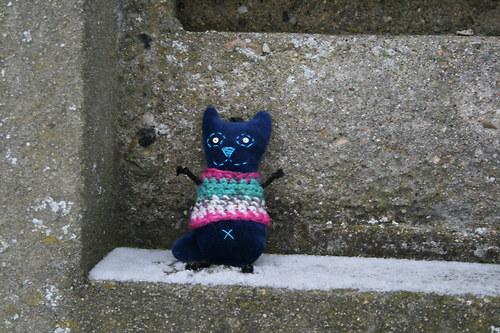 Kočička modrá ve svetříku