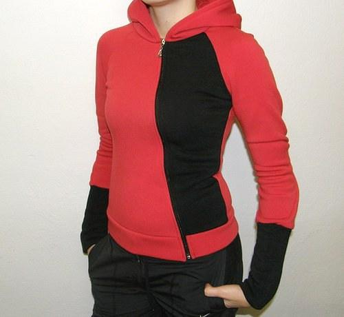 Atypická dámská mikina s kapucí - červená
