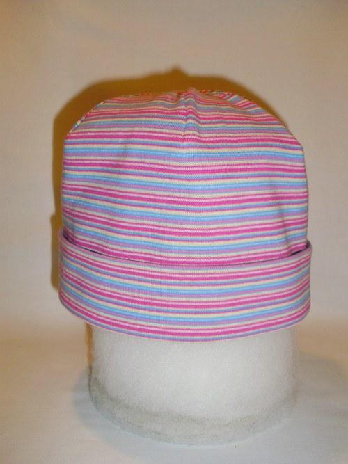 Čepička bez zavazování-barevné proužky