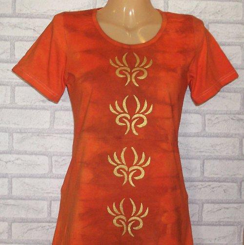 Šaty - Zlato v oranžádě  /38/....SLEVA