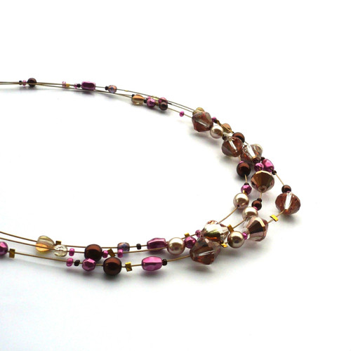 Projasnění - třířadý náhrdelník s náušnicemi