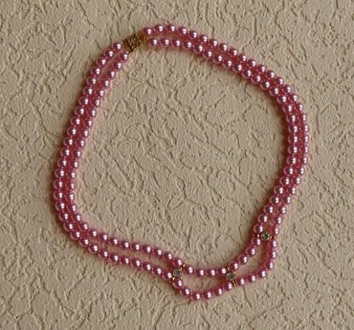 růžový náhrdelník  - dvouřadý - 5