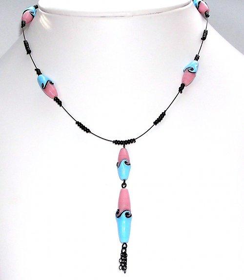 Náhrdelník - růžovo - modré olivy - vinuté perle