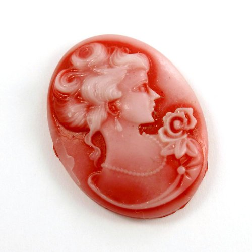 Kamej z pryskyřice - červená hraběnka, 1 ks
