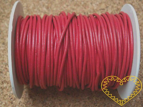 Šňůra koženková červená - Ø 2 mm