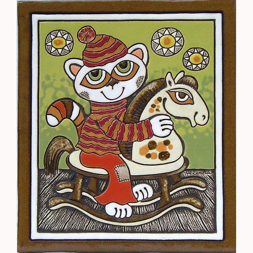 Keramický obrázek -Kočka a houpací koník K-148-Z