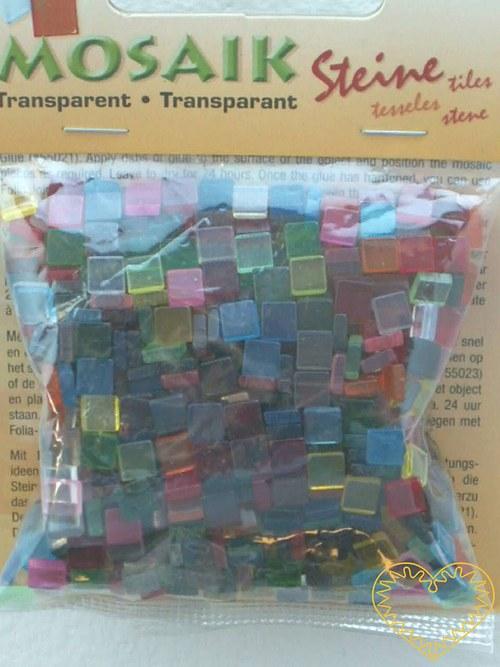 Průhledná mozaika - mix barev - čtverečky 1 x 1 cm