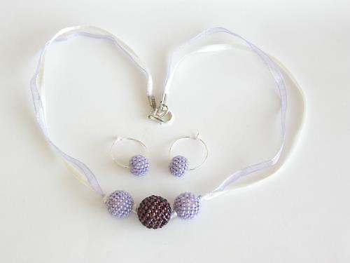 Dámský set - náhrdelník, náušnice - fialová BH-007