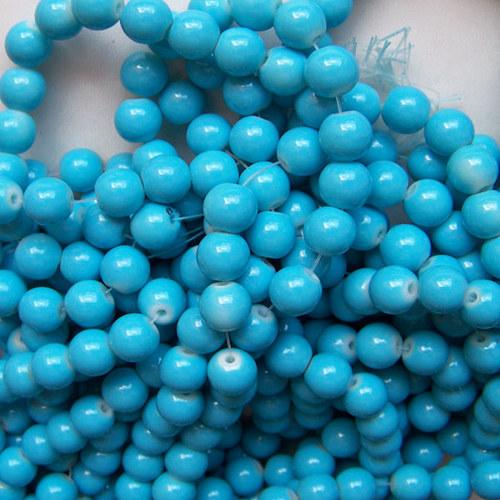skleněné korálky LESK/ modrá / 10mm/10ks