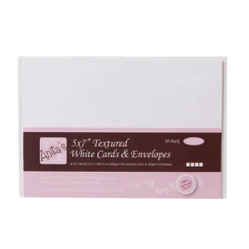 Obálky a karty s texturou velké - Bílé - 5 ks