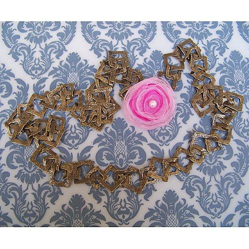 Bronzový náhrdelník čtverec s odepínací kytičkou 2