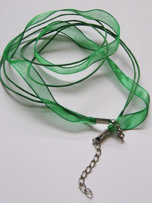 Organza se šňůrkami - zelená