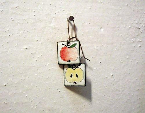 Smaltované náušnice jablíčka