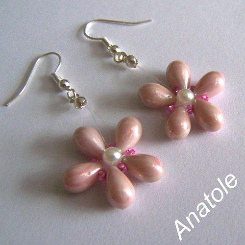 Růžová kytice - náušničky