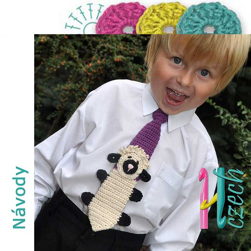 Háčkovaná kravatka ovec