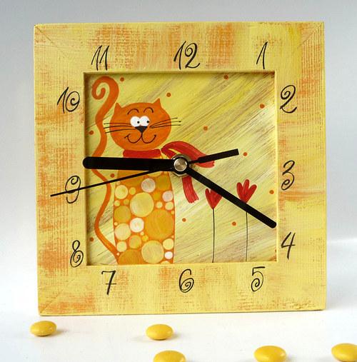 hodiny s kukačkou - žluté s kočkou