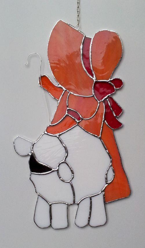 Závěsná vitráž Pastýřka 16x28cm