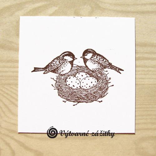 Hnízdo s ptáčky (inkoustový otisk)
