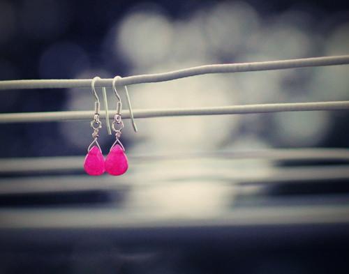 Růžový Jadeit - Ag naušničky