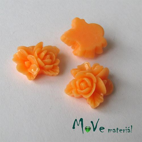 Kabošon květy lesklý A8- resin - 2ks, sv. oranžový