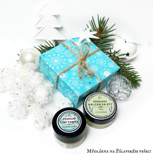 Vánoční krabička - Tuhý parfém & balzám na rty