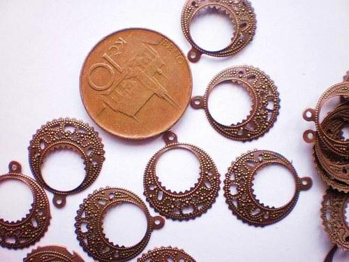 Přívěsek filigránový staroměď 10 kusů