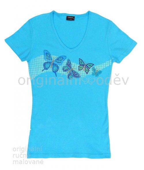 Malované tričko dámské - motýlci - modré