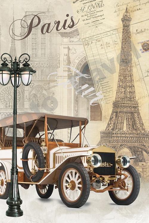 Vintage motiv - auto - Paříž- Eiffel 2