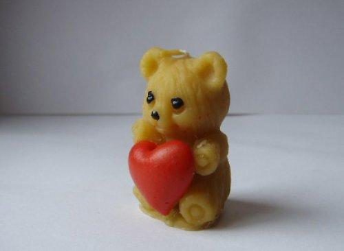 svíčka medvídek se srdíčkem