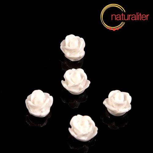 Růžička - kabošon z pryskyřice 7mm, bílá, 10ks