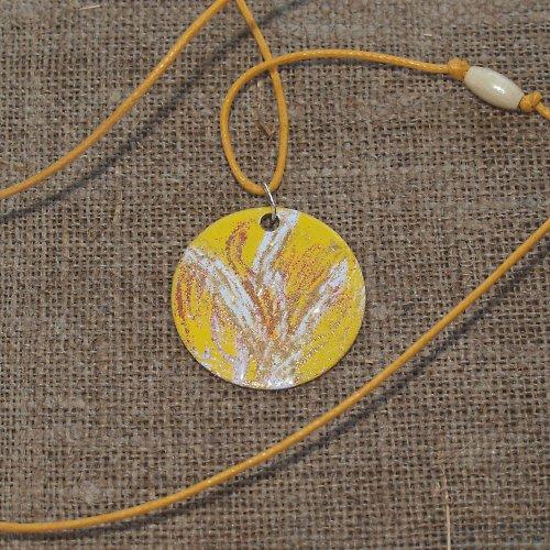 Žlutá fantazie - náhrdelník smaltovaný