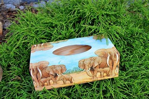 Krabička na kapesníky - sloni