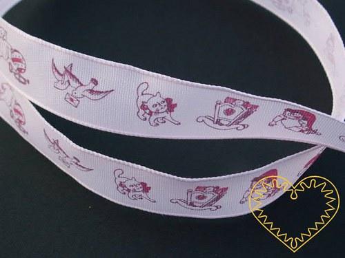 Růžová textilní stuha pro miminka - holčičky